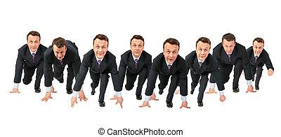 business team start run collage