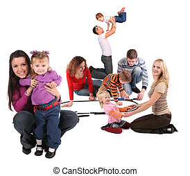 happy playing families