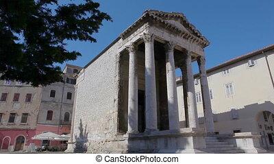 Temple of Roma and Augustus in Pula main square, Croatia