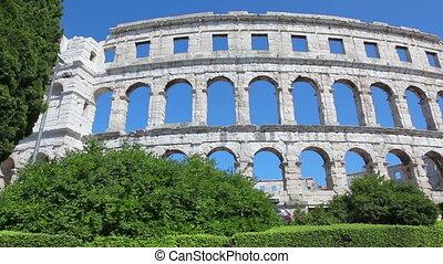 Roman time arena in Pula, detail, Croatia. UNESCO world...