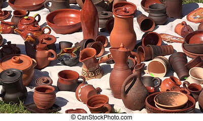 Ceramic and clay pots. Shot in 4K (ultra-high definition...