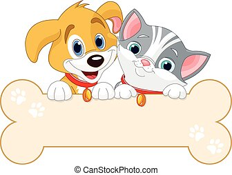 Cat and Dog Sign - Cat and dog are holding sign (add your...