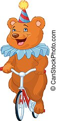 Circus Bear - Illustration of cute bear on bicycle