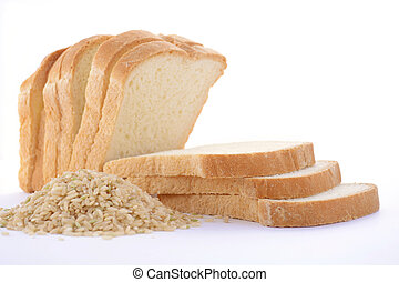 Loaf Rice Sourdough bread with raw brown rice. - Loaf of...