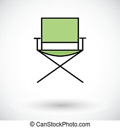Camping chair Flat icon on the white background for web and...