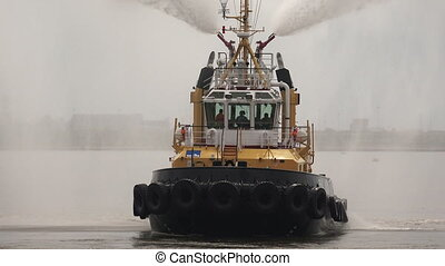 Fire boat Hose Shot in 4K ultra-high definition UHD, so you...