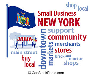 New York Flag, Small Business USA - New York, the Empire...