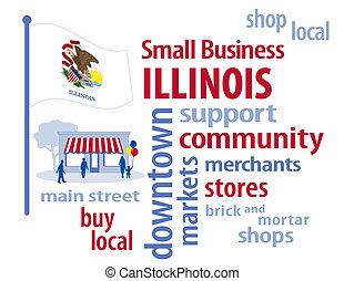 Illinois Flag, Small Business USA - Illinois, the Prairie...