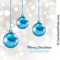 Holiday Background with Snowflakes and Christmas Balls