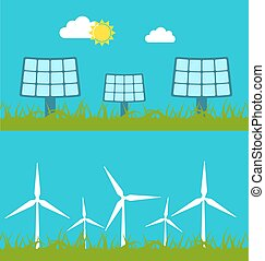 Solar Panels and Wind Generators - Illustration Abstract...
