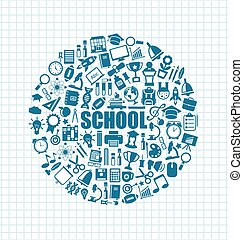 Set of School Icons, Back to School Objects - Illustration...