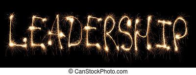 palabra, liderazgo, escrito, sparkler