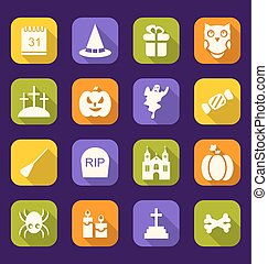 Halloween Flat Icons with Long Shadows - Illustration...