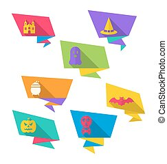 Origami Paper Banners with Halloween Symbols