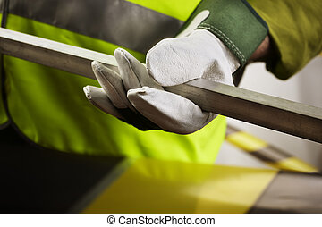 under construction - working concept ,hand of worker with...