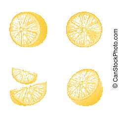 Set of Fruit Lemons Isolated