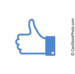 Icon of Blue Thumb Up, Isolated on White Background