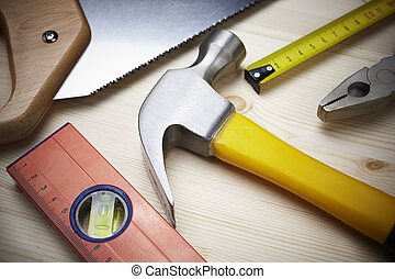 carpentry - construction background with tools, selective...