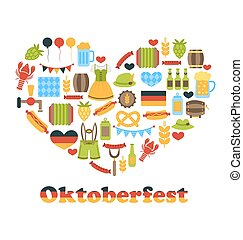 Heart made in Oktoberfest Colorful Symbols