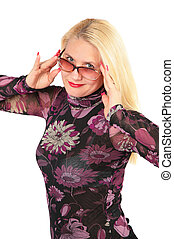 Middleaged business woman in glasses