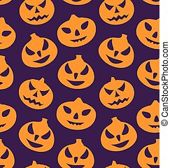 Seamless Pattern with Spooky Pumpkins