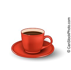 Photo Realistic Cup of Coffee Isolated - Illustration Photo...