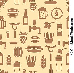 Seamless Pattern with Icons of Beers and Snacks
