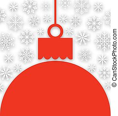 Snowflake Background with Christmas Paper Ball -...