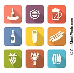Group Minimal Colorful Icons of Beers and Snacks