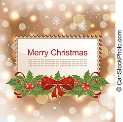 Christmas Elegant Card with Holly Berry