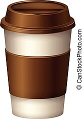 Coffee cup with brown lid illustration