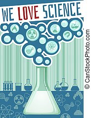 Science poster with lab equipment
