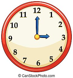 Round clock with red frame