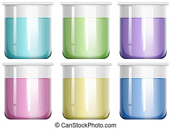 Liquid mixture in glass beaker illustration