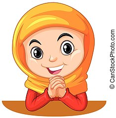Muslim girl with head scarf praying illustration