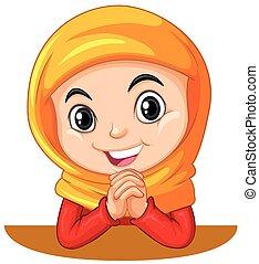 Muslim girl with head scarf praying illustration