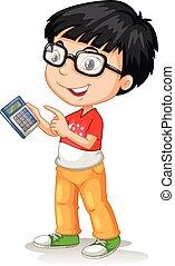 Little asian boy using calculator