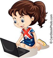 Aussie girl working on computer