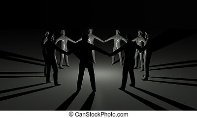 businessmen circle and light shadows