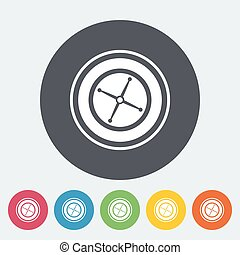 Roulette Single flat icon on the circle button Vector...