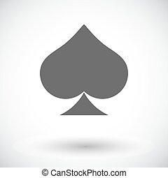 Card suit - Spades. Single flat icon on white background....