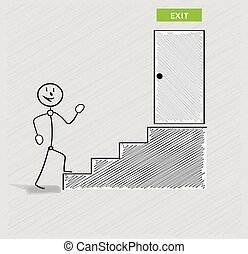 man and stairs to exit - happy walking man and stairs to...