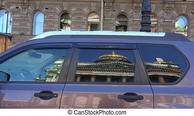 St isaacs cathedral The reflection in the glass of the car -...