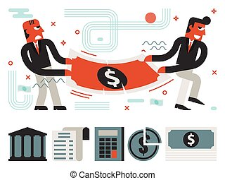Fight Over Money - Illustration of guys fight over money...