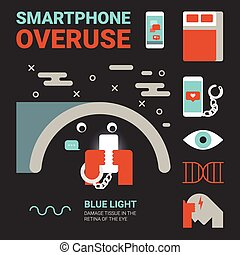 Smartphone Overuse - Illustration of smartphone overuse...