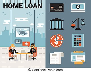 Home Loan - Illustration of home loan concept with icons