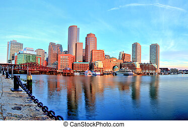 Boston Skyline with Financial District and Boston Harbor at...
