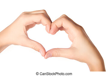 Hands forming heart shape isolated on white - Human hands...