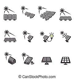 solar cell icon set