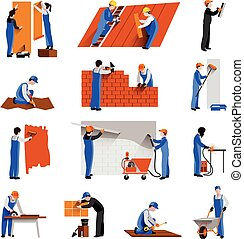 Worker Icons Set - Workers builder engineers and technician...
